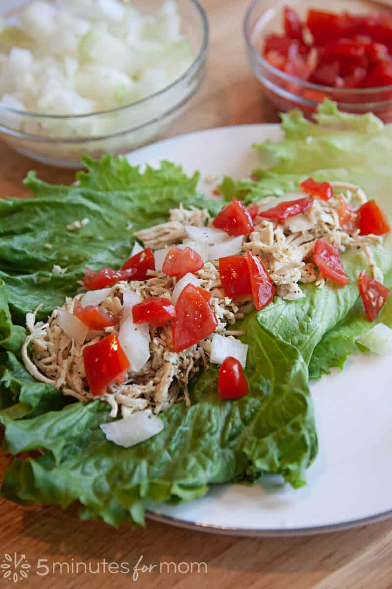 Chicken Lettuce Wraps with Tomatoes and Onions