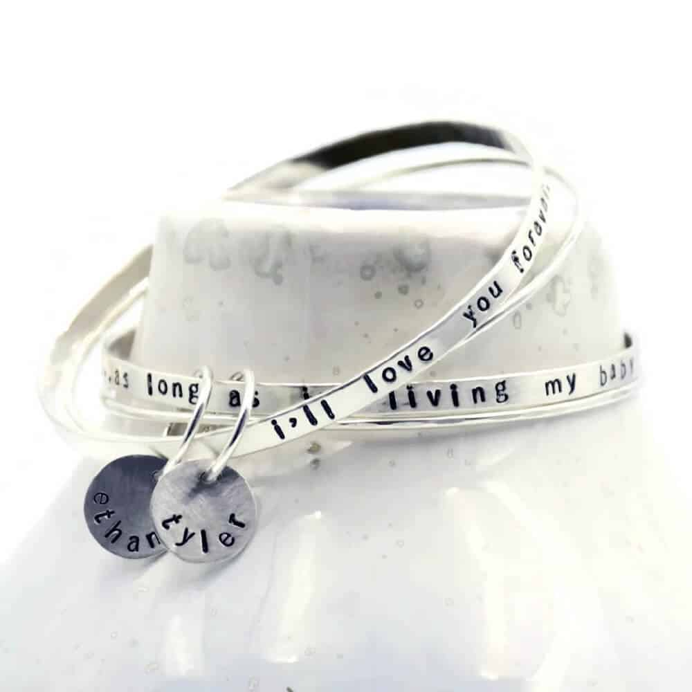 best gifts for mom - personalized jewelry - bangle set for mom