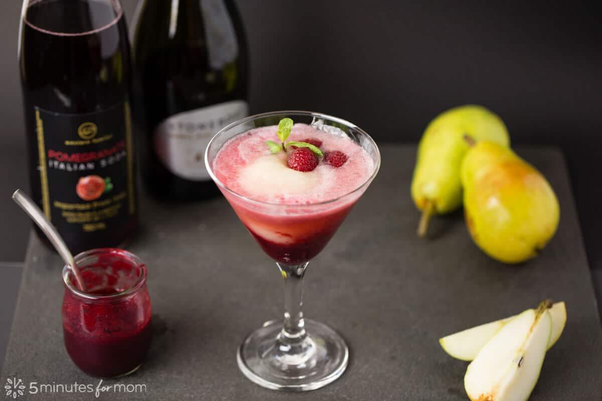 Raspberry, Pomegranate and Pear Bellini