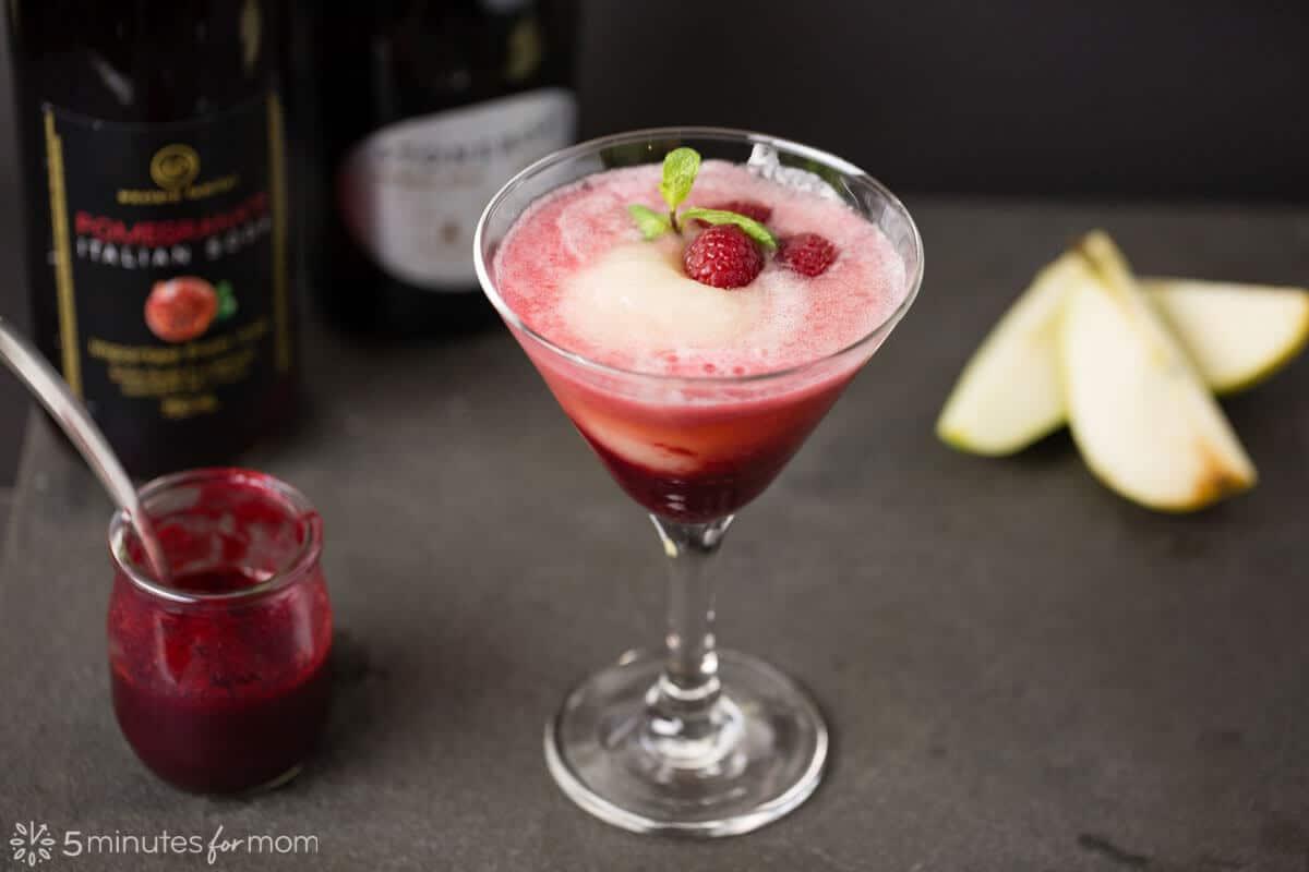 Raspberry, Pomegranate, and Pear Bellini
