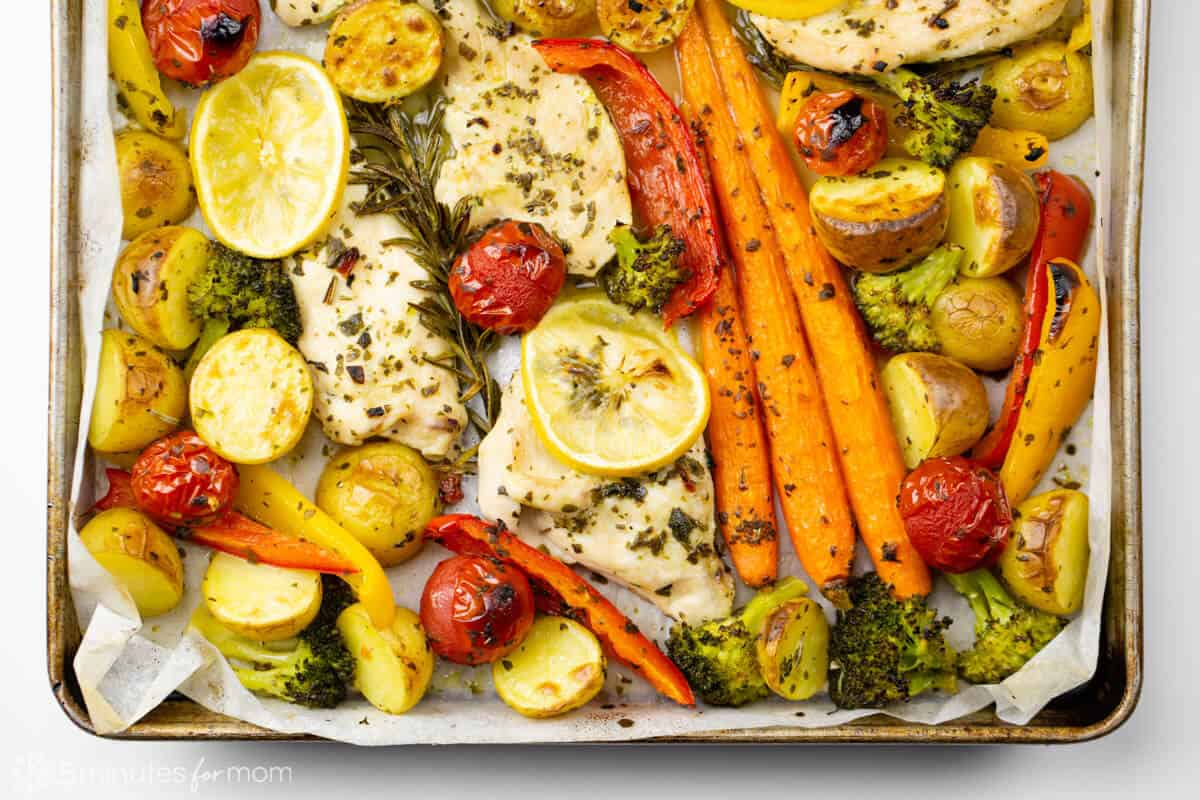 Baked Lemon Rosemary Chicken with Roasted Potatoes and Vegetables