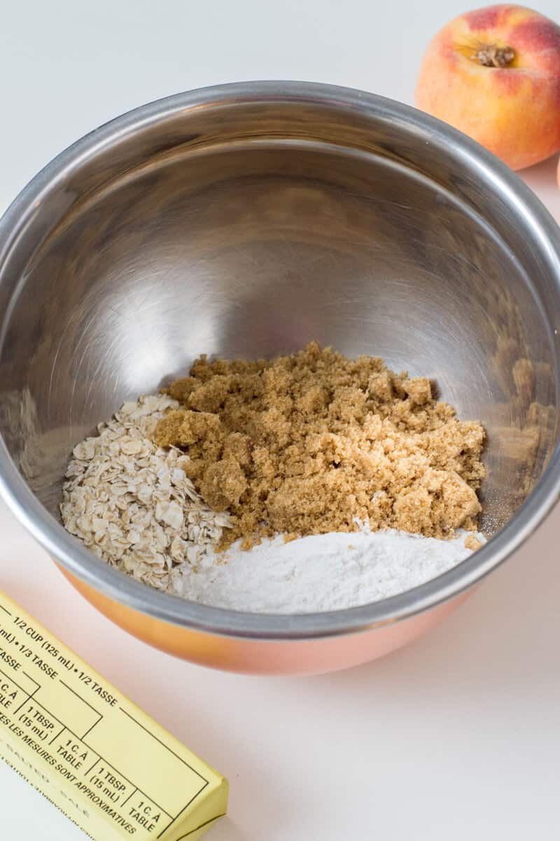 Mix together flour, brown sugar and oats