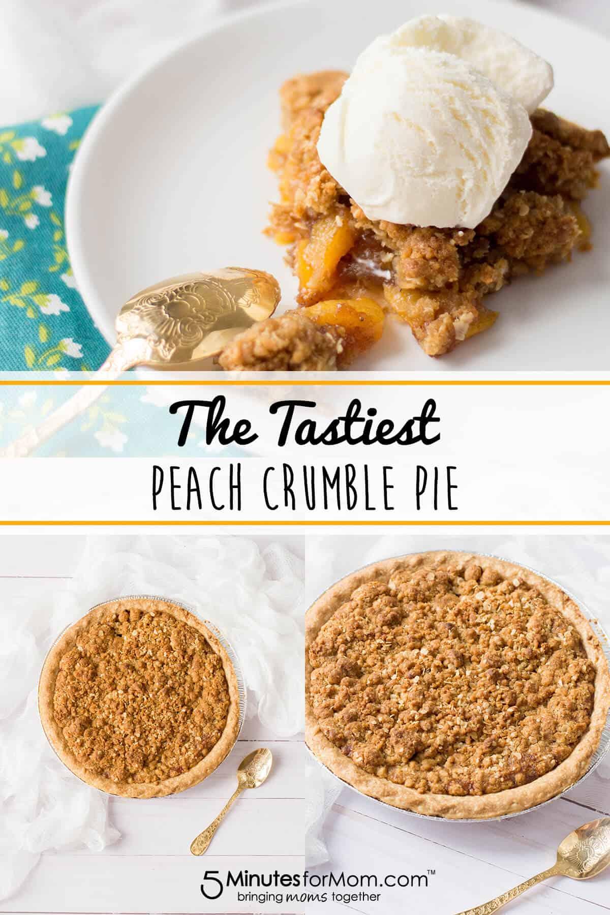 Peach Crumble Pie Recipe - This easy dessert recipe is packed full of flavor! #peach #pie