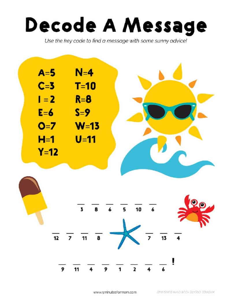 Summer Decode Activity Printable