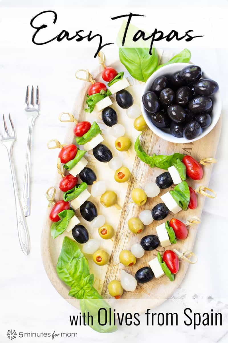Appetizer Skewers - Easy Tapas with Olives from Spain