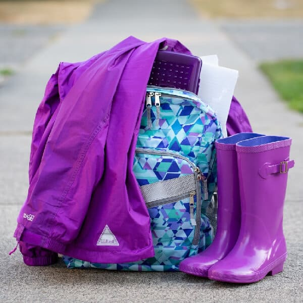LL Bean Rain Boots Rain Jacket and Backpack