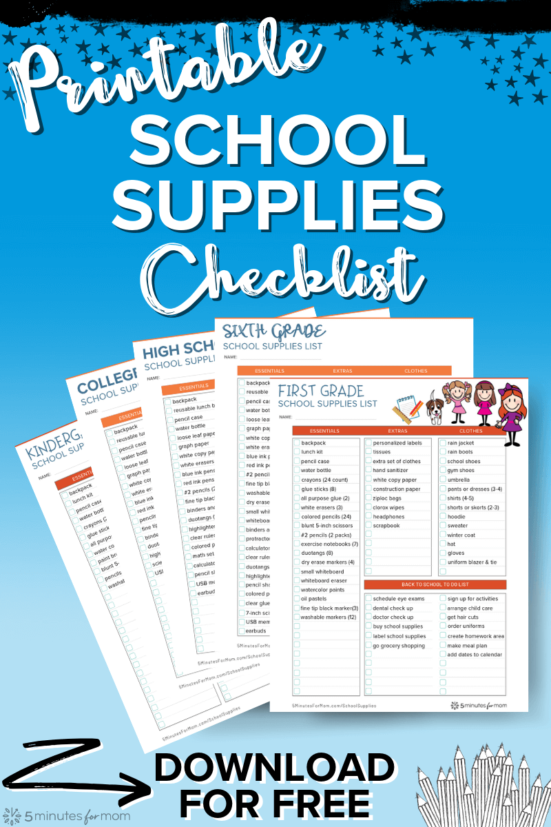 Printable School Supplies Checklist - Back to School Shopping List