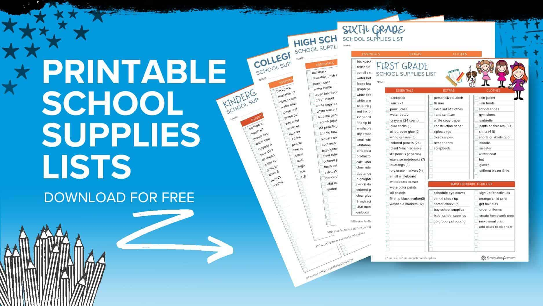 School Supplies List - Printable school supply lists for all grades