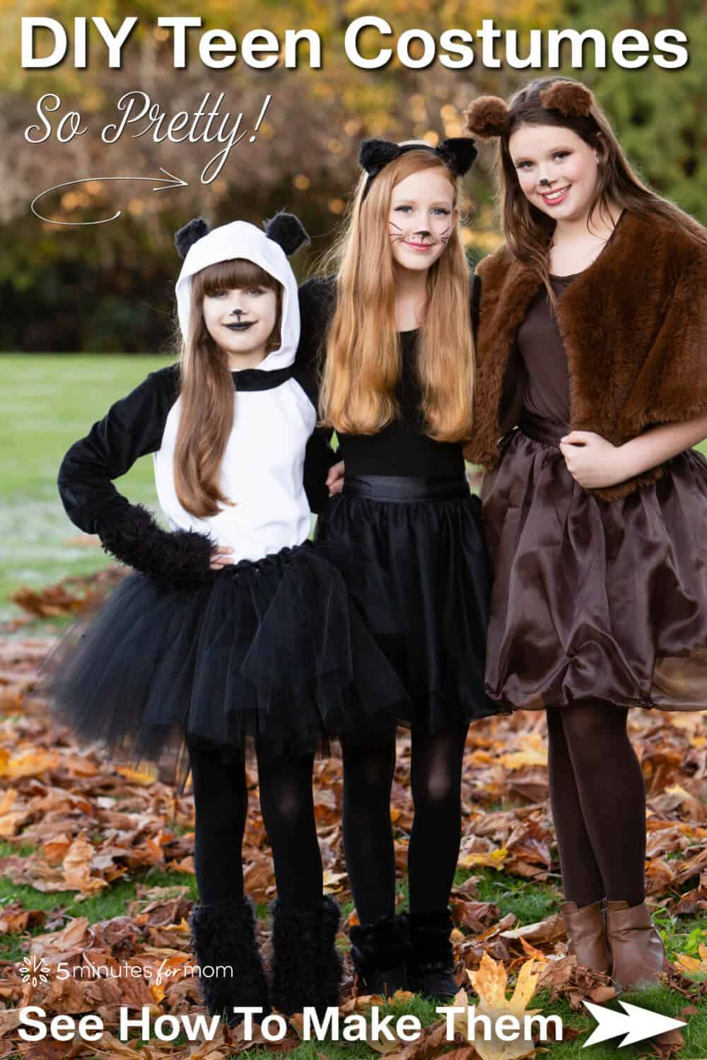 """Three teen girls wearing pretty DIY Halloween costumes: panda, black cat, and brown bear. Text on image reads """"DIY Teen Costumes - See How to Make Them"""""""