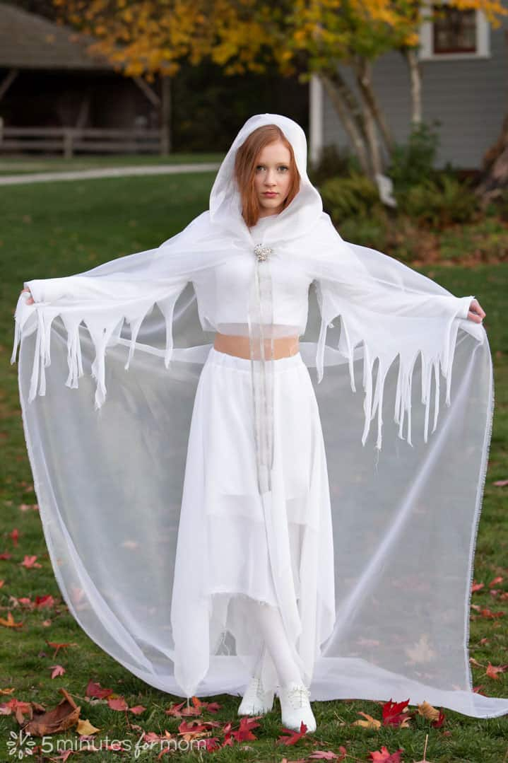DIY ghost costume with hooded cape