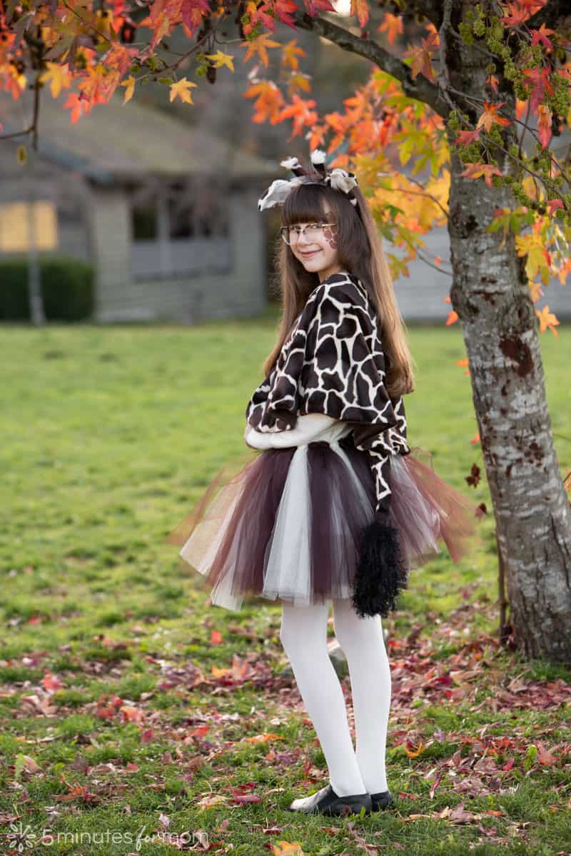 DIY giraffe costume with ears horns and tail