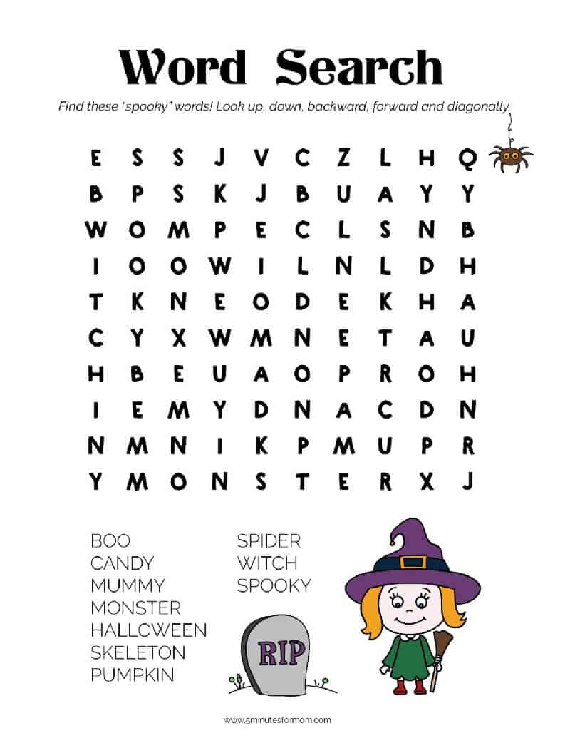 Free Halloween Printables - Word Search For Kids