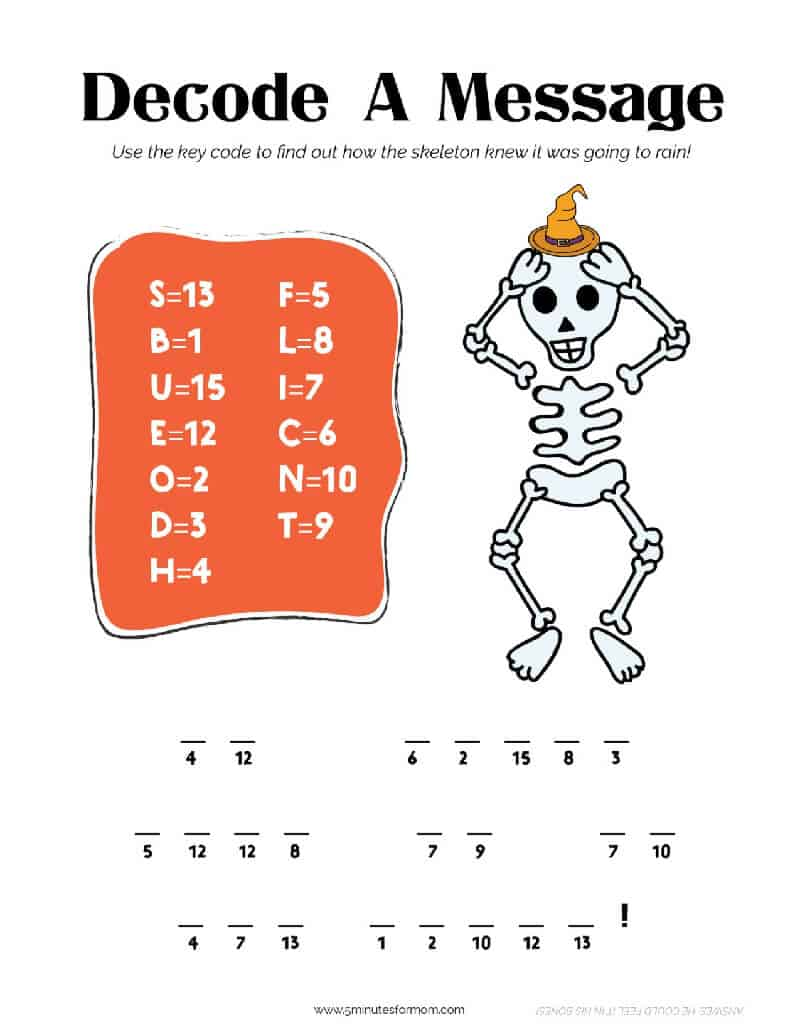 Halloween Activity Pack for Kids - Decode Message