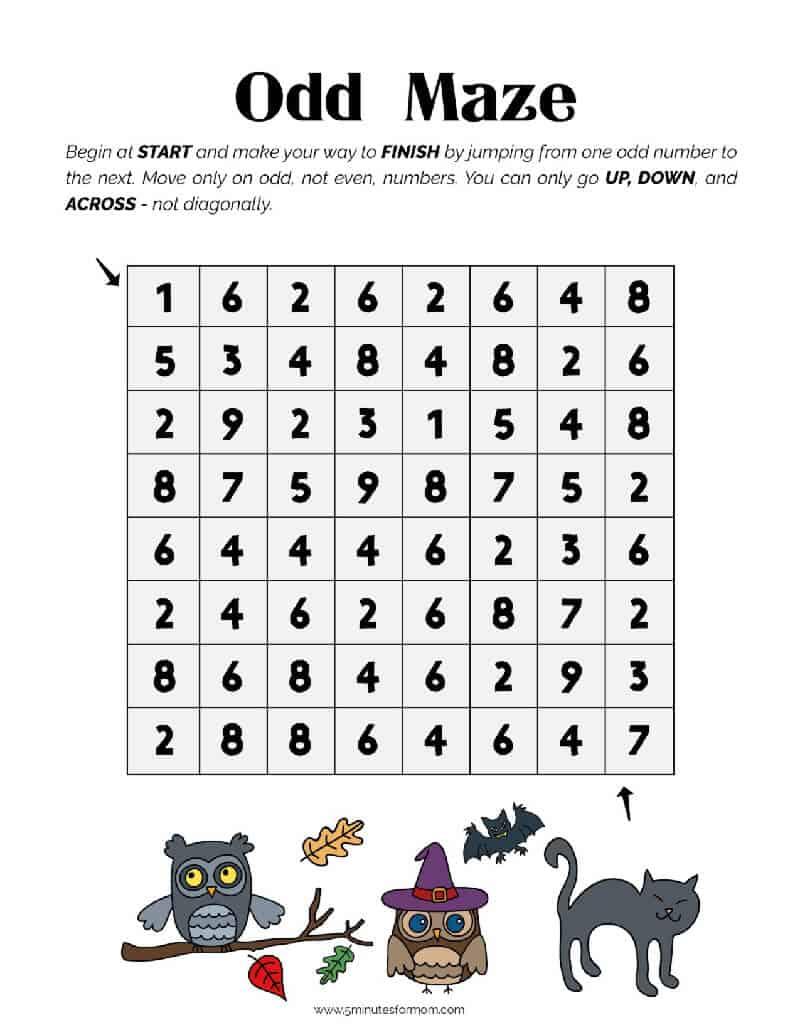 Halloween Printable for Kids - Odd Maze