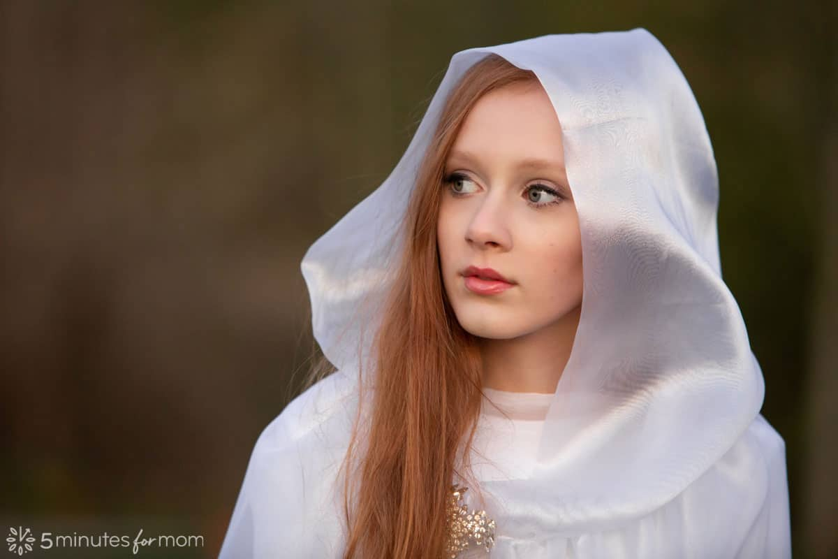 Hooded cape for ghost halloween costume - closeup of teenage girl with handmade white hood