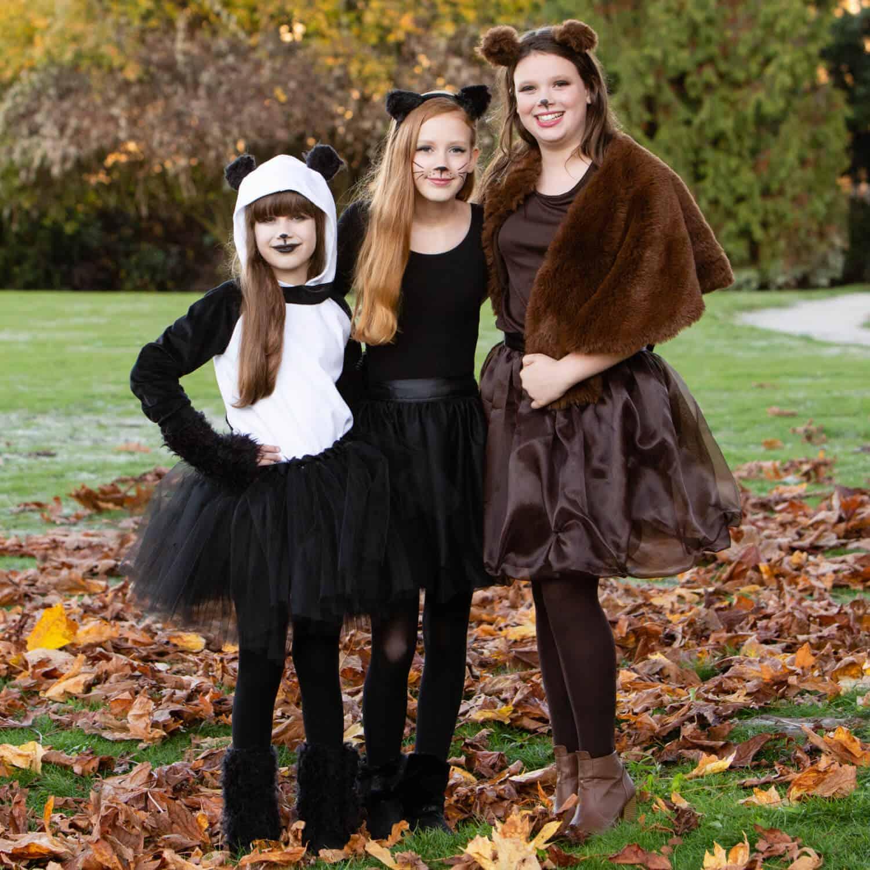 Three young teen and tween girls wearing DIY Halloween costumes: Panda, Black Cat, and Brown Bear