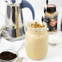 Coffee Smoothie with collagen powder MCT oil and cinnamon