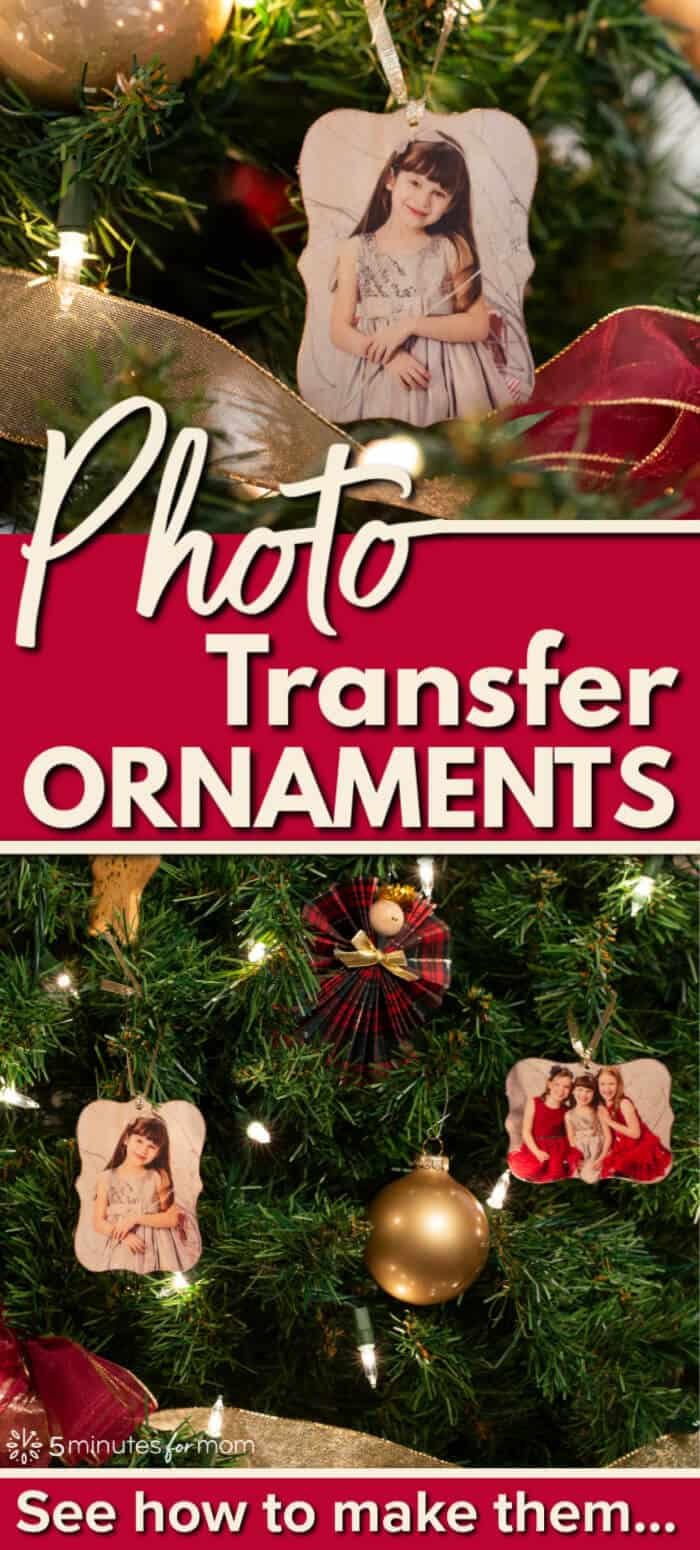 Easy Christmas Ornament - DIY Photo Transfer Ornaments #DIYornaments #DIYchristmas #ornament