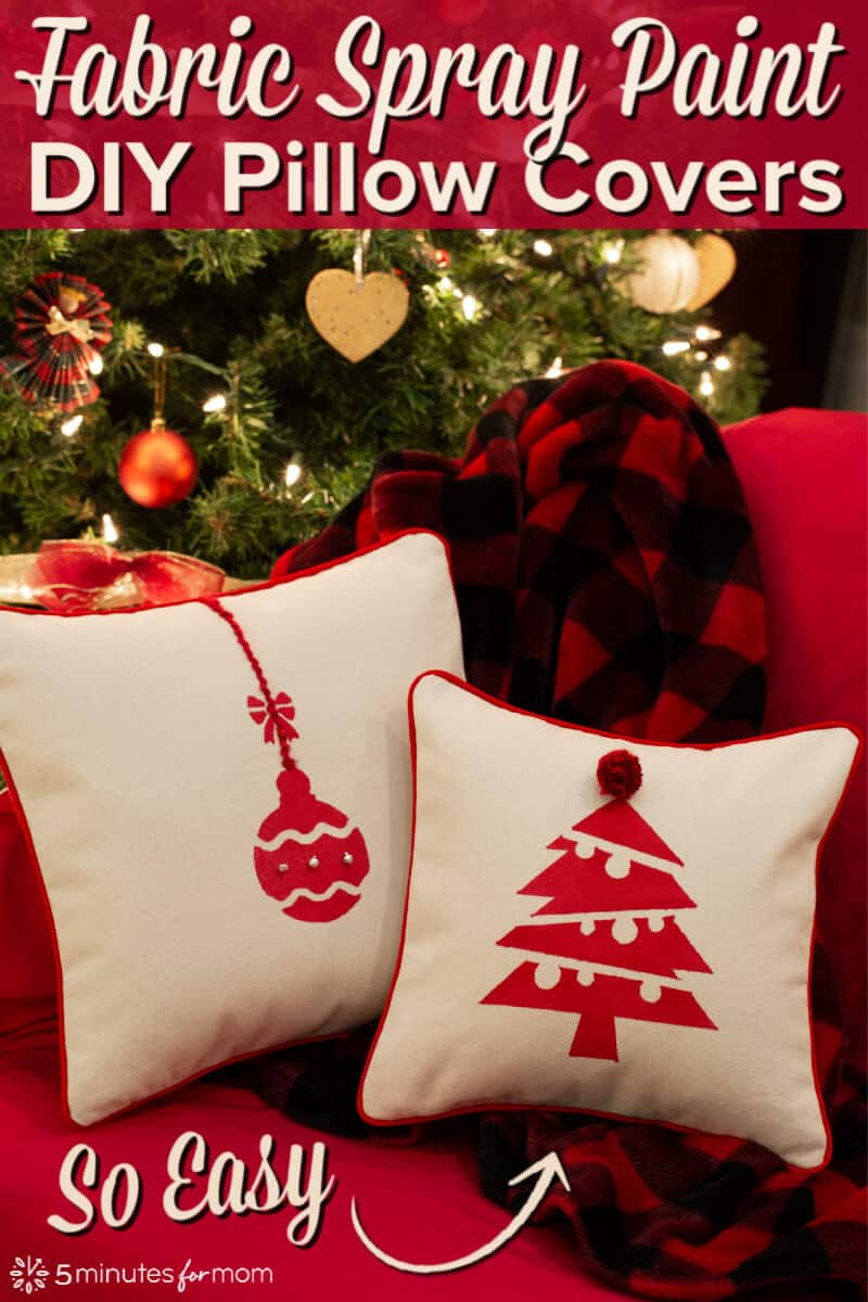 Fabric Spray Paint DIY Pillow Covers - DIY Christmas Decor #ad #fabricspraypaint #diychristmas #DIYpillow