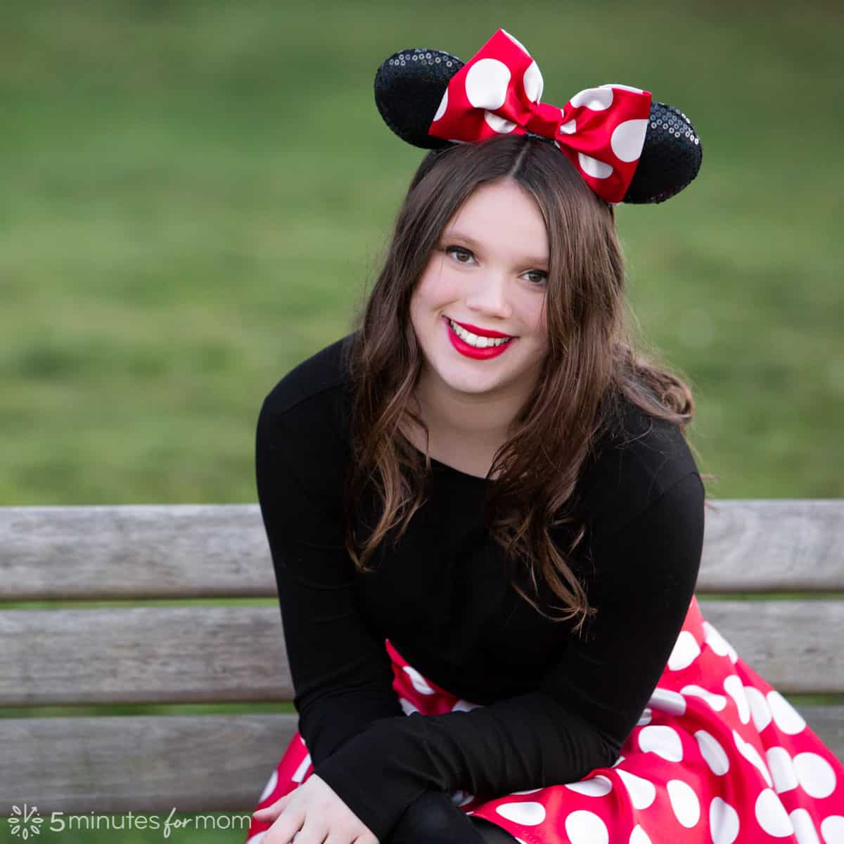Minnie Mouse Costume with Homemade Bow