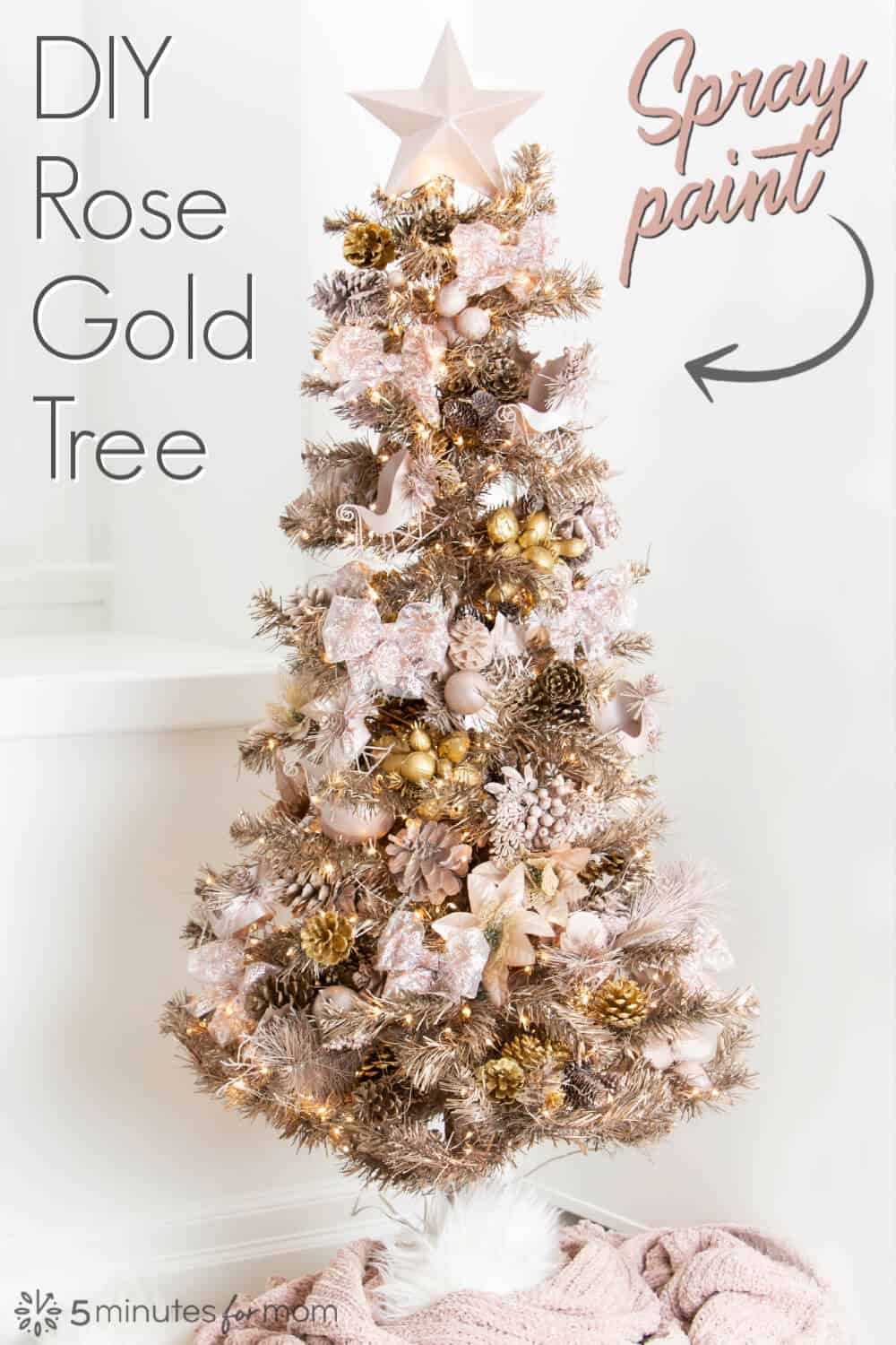 Rose Gold Christmas Tree DIY - Spray Painted Tree