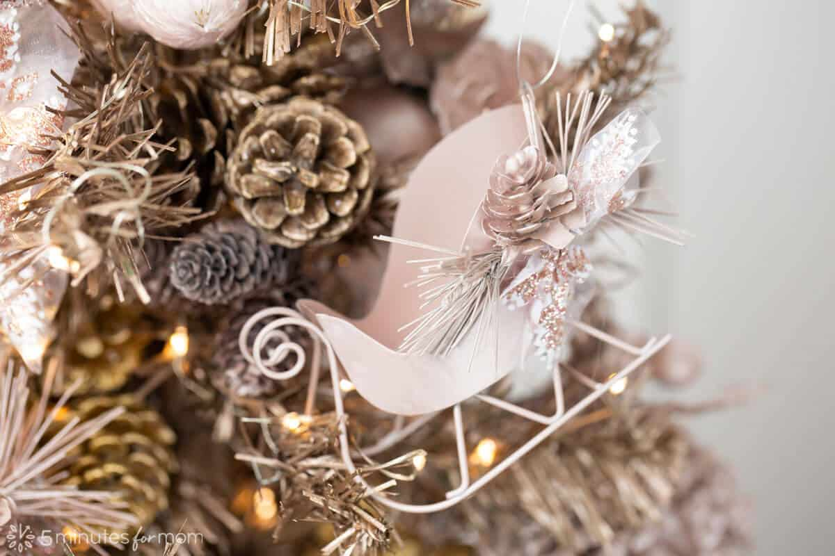 Rose Gold Spray Painted Christmas Tree Ornaments