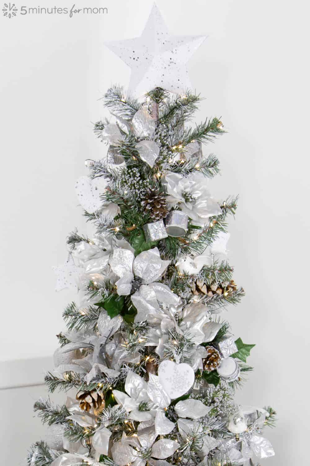Silver and White Christmas Tree - Flocked Christmas Tree with Spray Paint