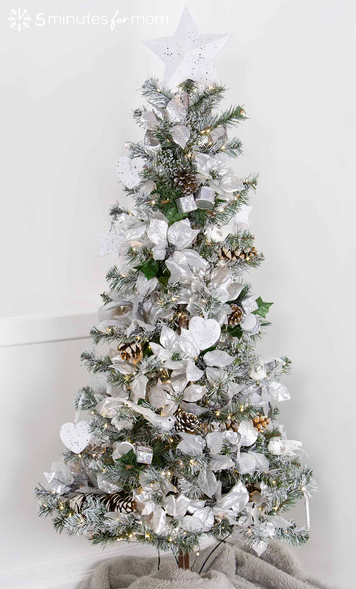 White Christmas Tree With Silver Decorations  from www.5minutesformom.com