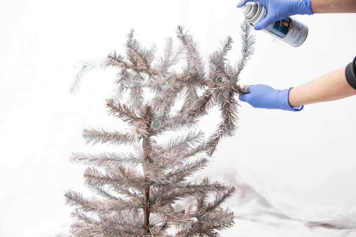 Spray Paint Christmas Tree with Rose Gold Paint