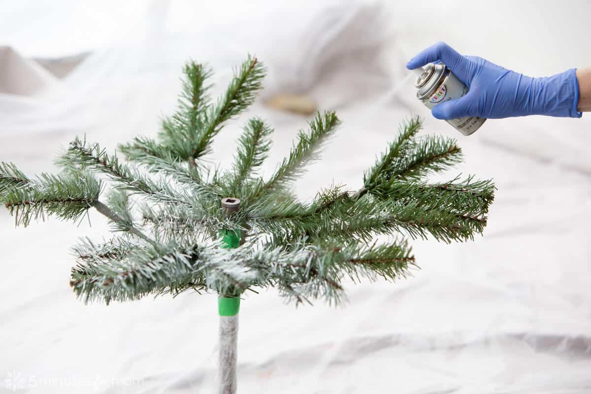 Spray Painting an Artificial Christmas Tree in Pieces