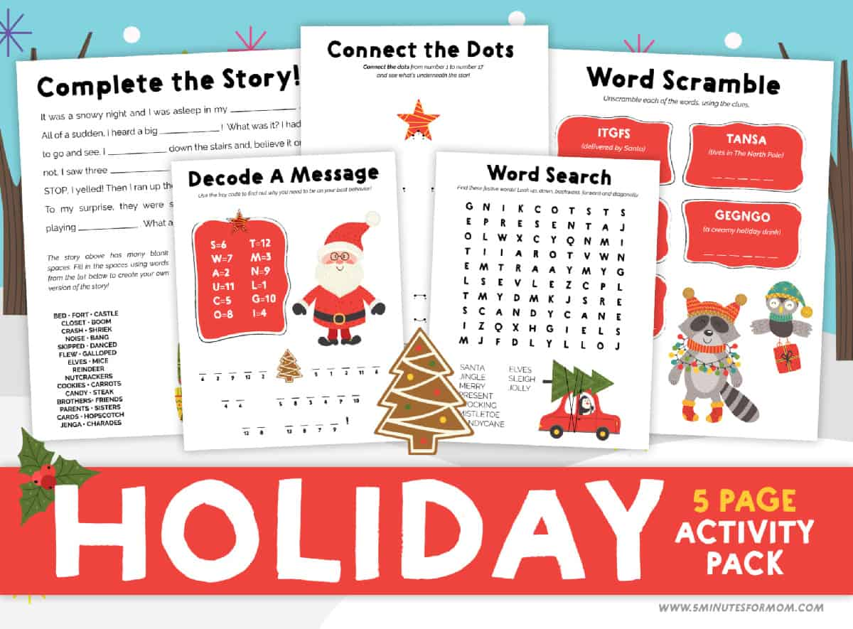Christmas Printable Activities - Free Holiday Activity Pack For Kids