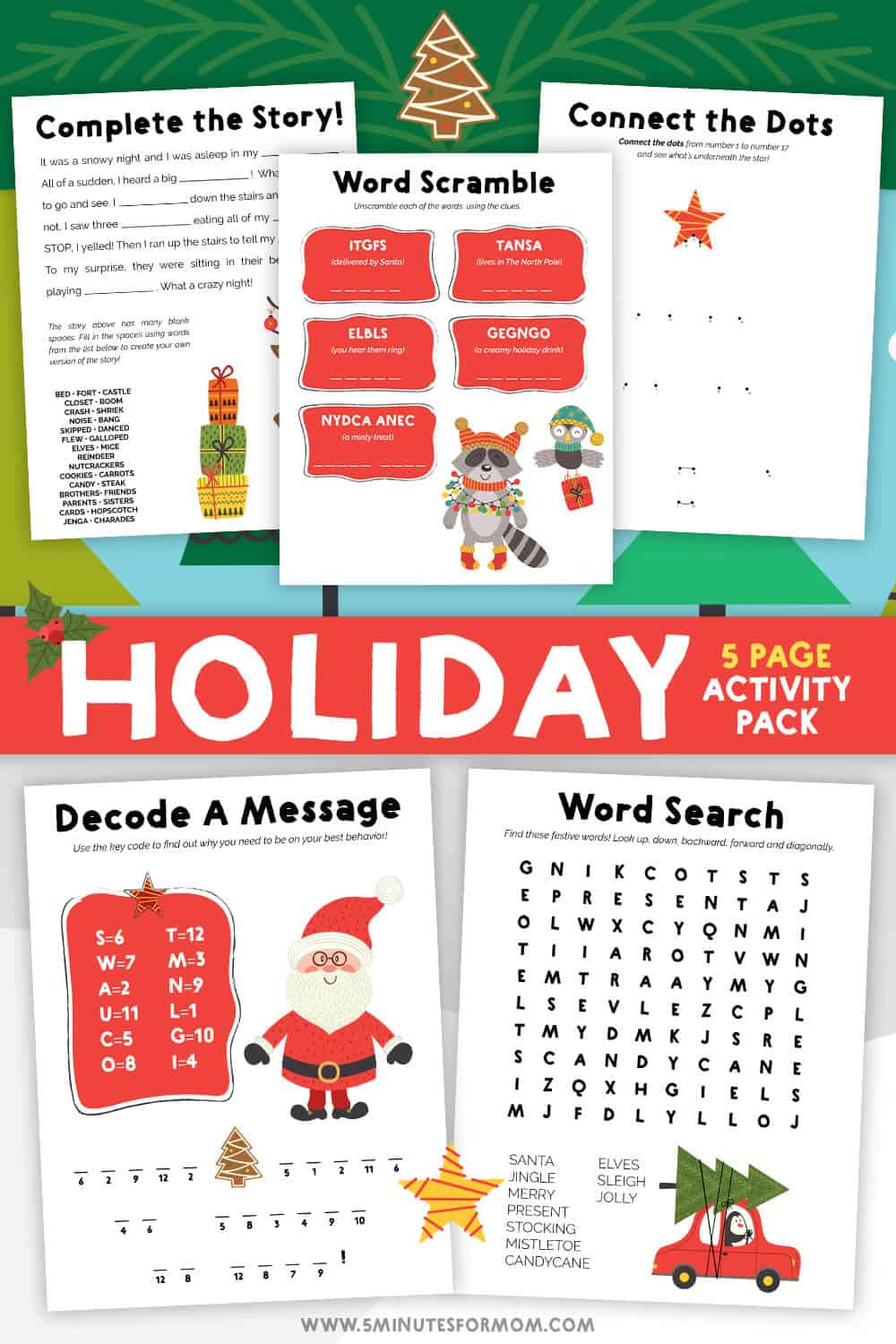 Christmas Printable Activities for Kids - Holiday Activity Pack