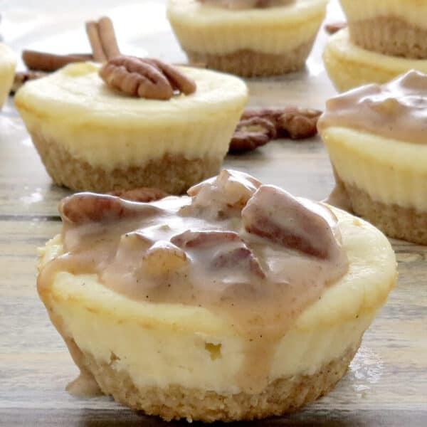Keto Cheesecake Bites with Caramel Pecan Sauce