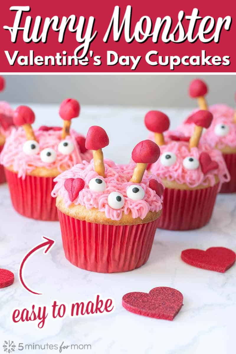 Valentines Day Cupcakes - Furry Monster Cupcakes
