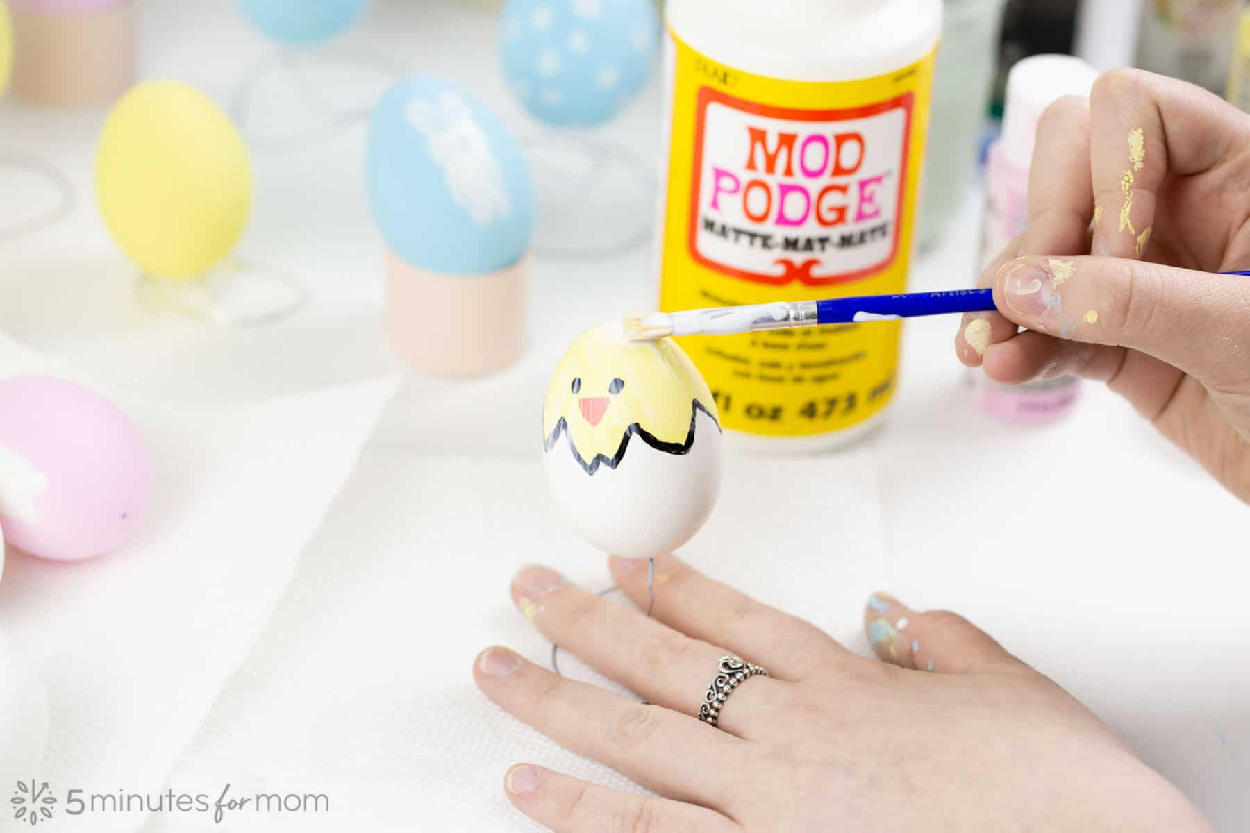 Paint Mod Podge on Eggs to Seal