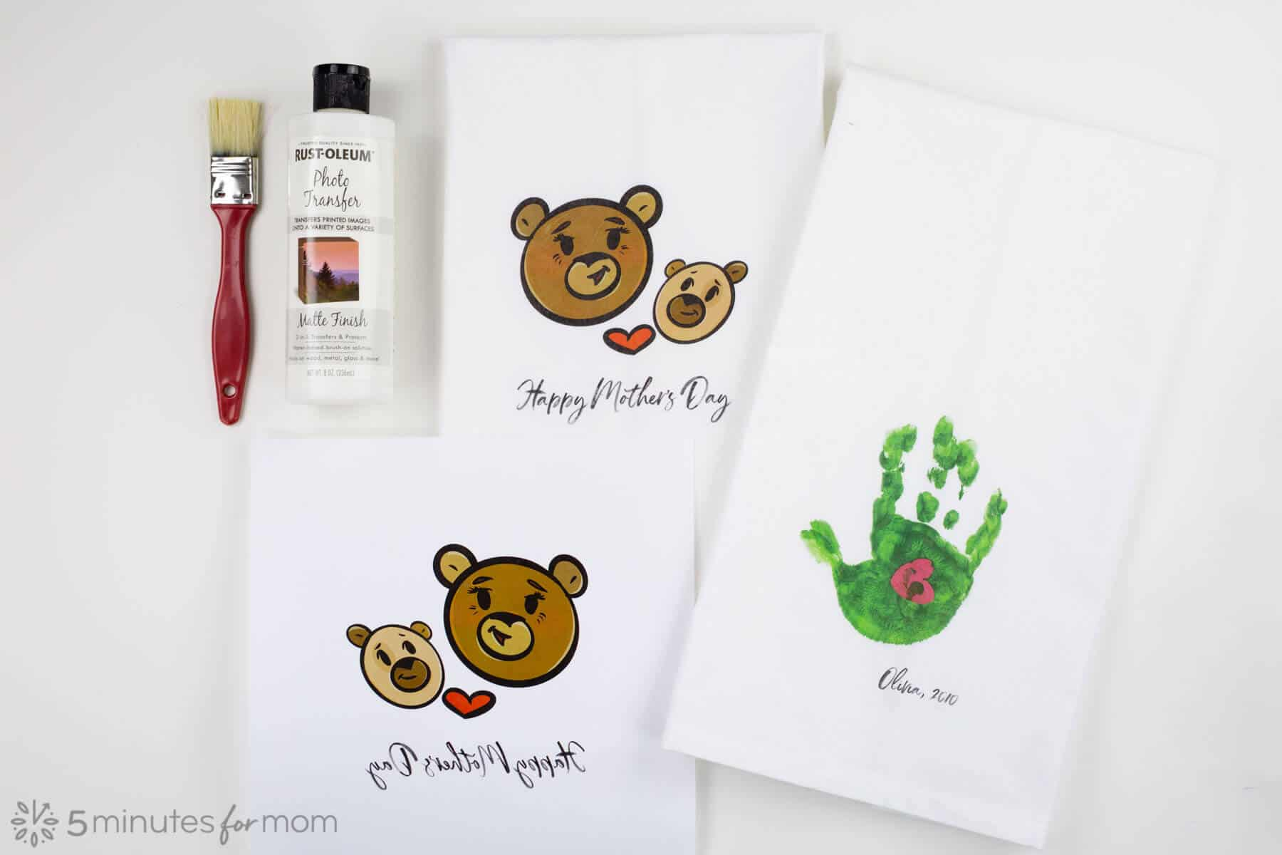 DIY photo transfer tea towels