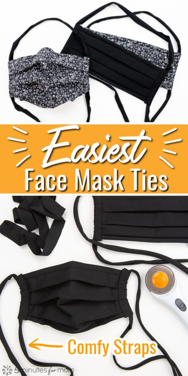 Easiest Face Mask Straps - How To Make Fabric Face Mask Ties
