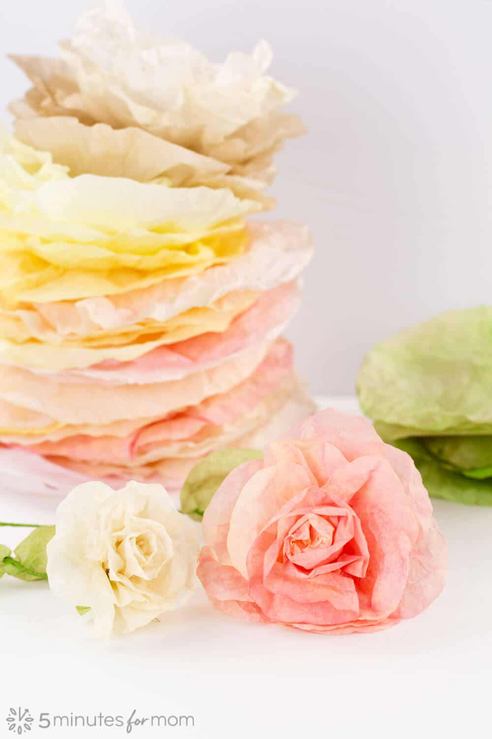 Easy coffee filter flowers with acrylic paint
