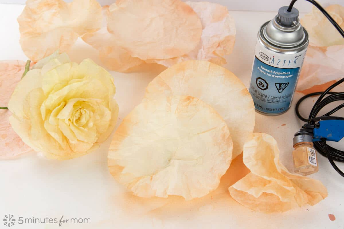 Coffee Filter Flowers using an Airbrush