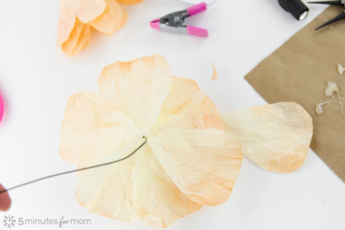 coffee filter rose template and tutorial