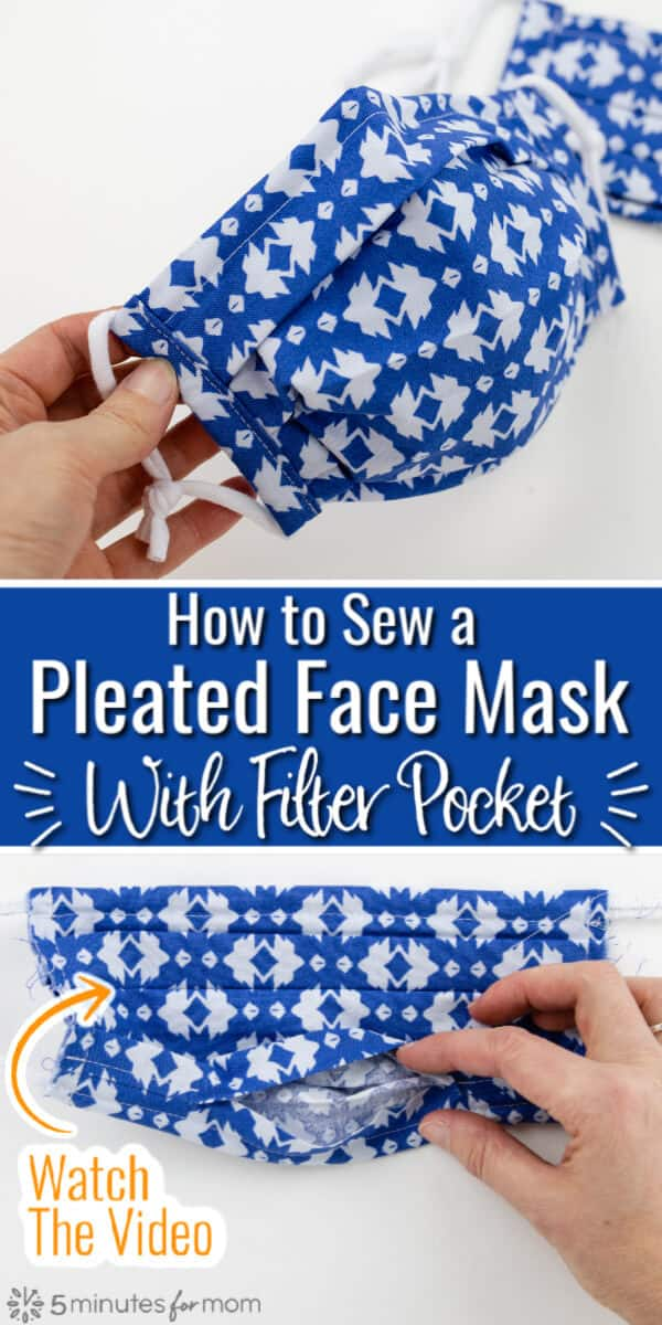 How to Sew a Pleated Face Mask with Filter Pocket - Free Pattern and Tutorial
