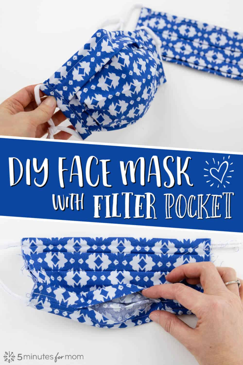 DIY Pleated Face Mask with Pocket for a Removable Filter