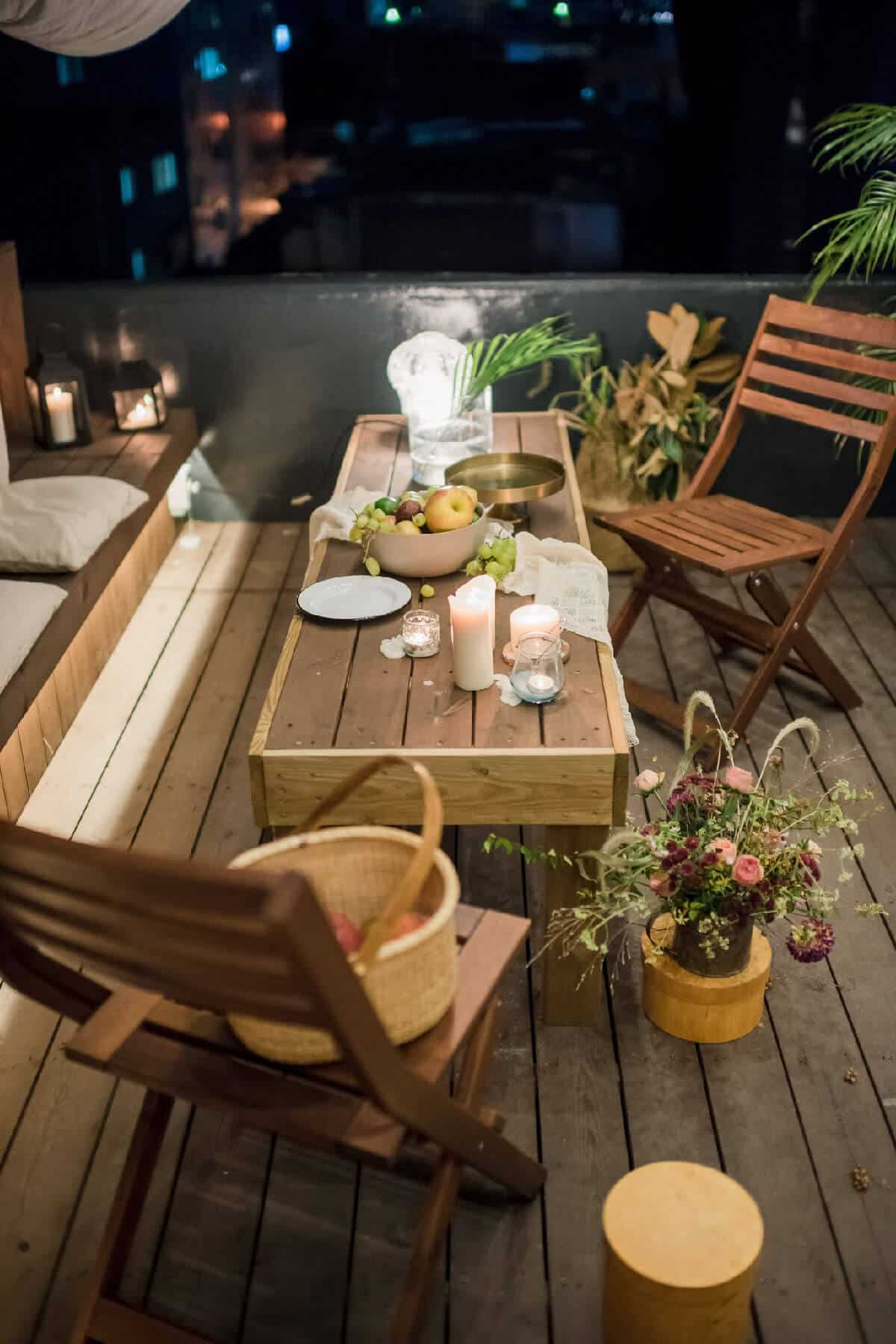 Wooden Folding Chairs on the Deck