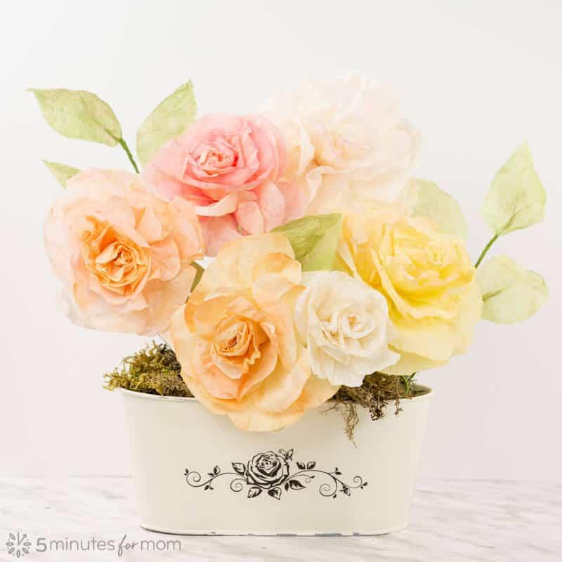 DIY Paper Roses in Distressed Flower Pot