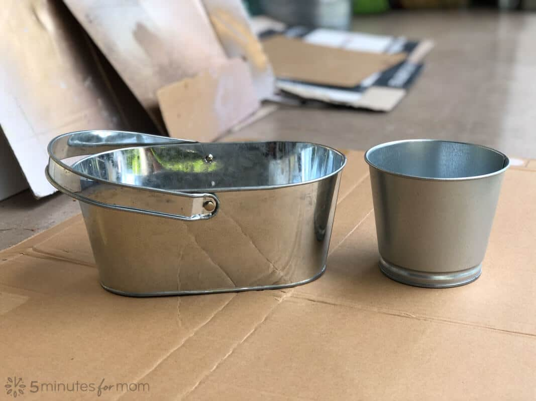 how to paint and distress metal pots