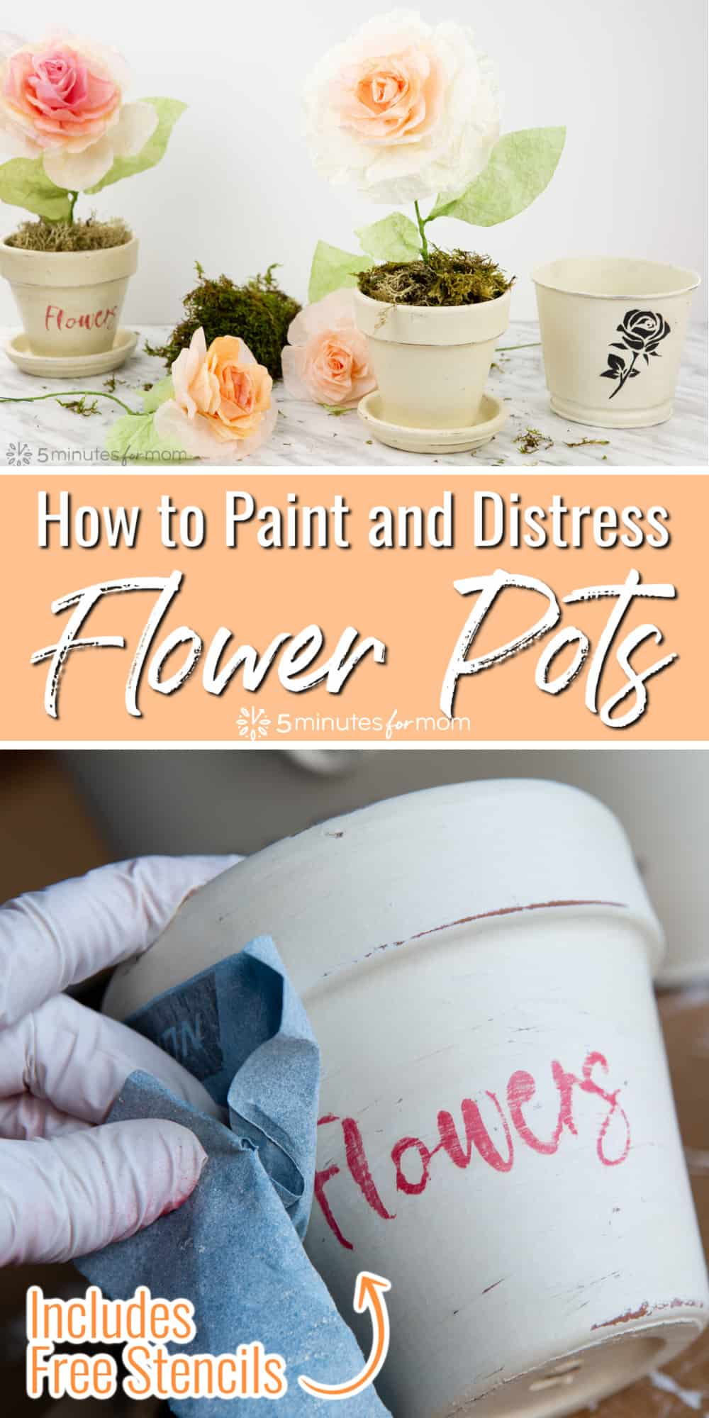 How to Paint and Distress Flower Pots