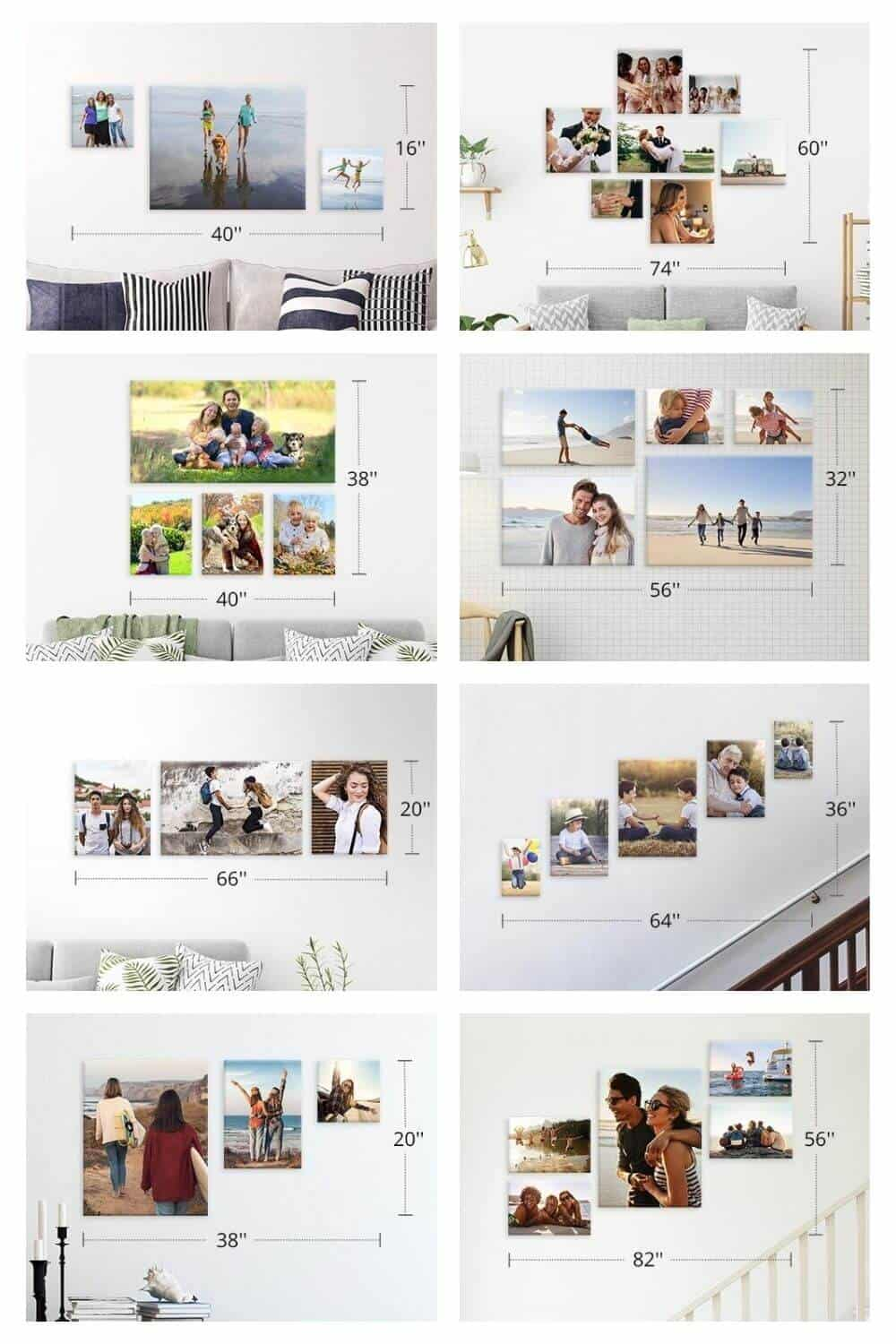 Canvas Print Wall Displays - Several layout examples of multiple canvas prints displayed on various walls
