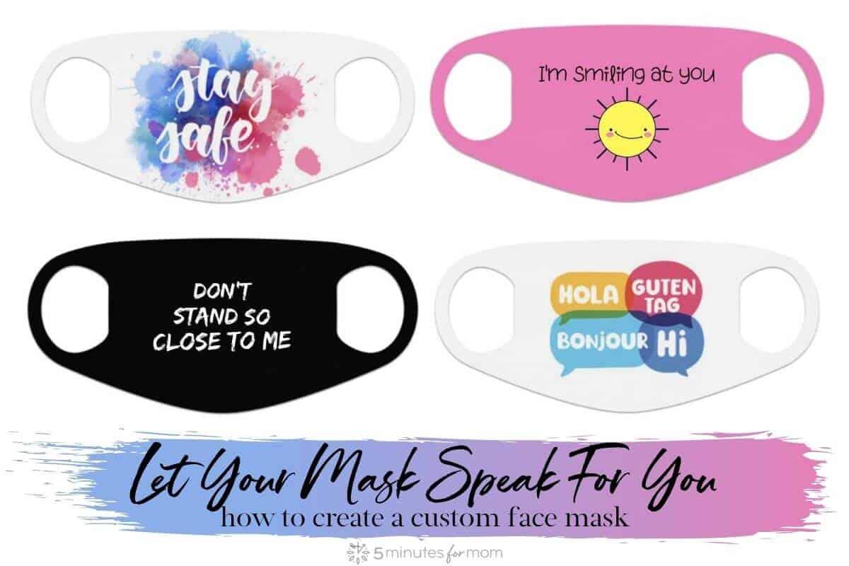 Let your custom face mask speak for you - Image shows 4 face mask designs