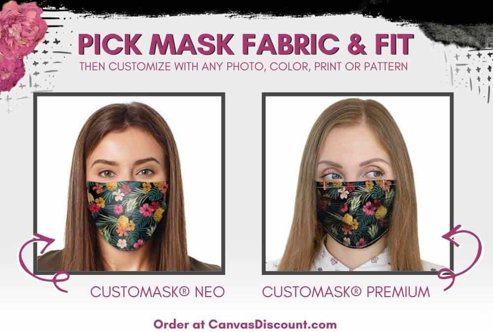 Pick Mask Fabric and Fit - Image shows the two fabric options on CanvasDiscount