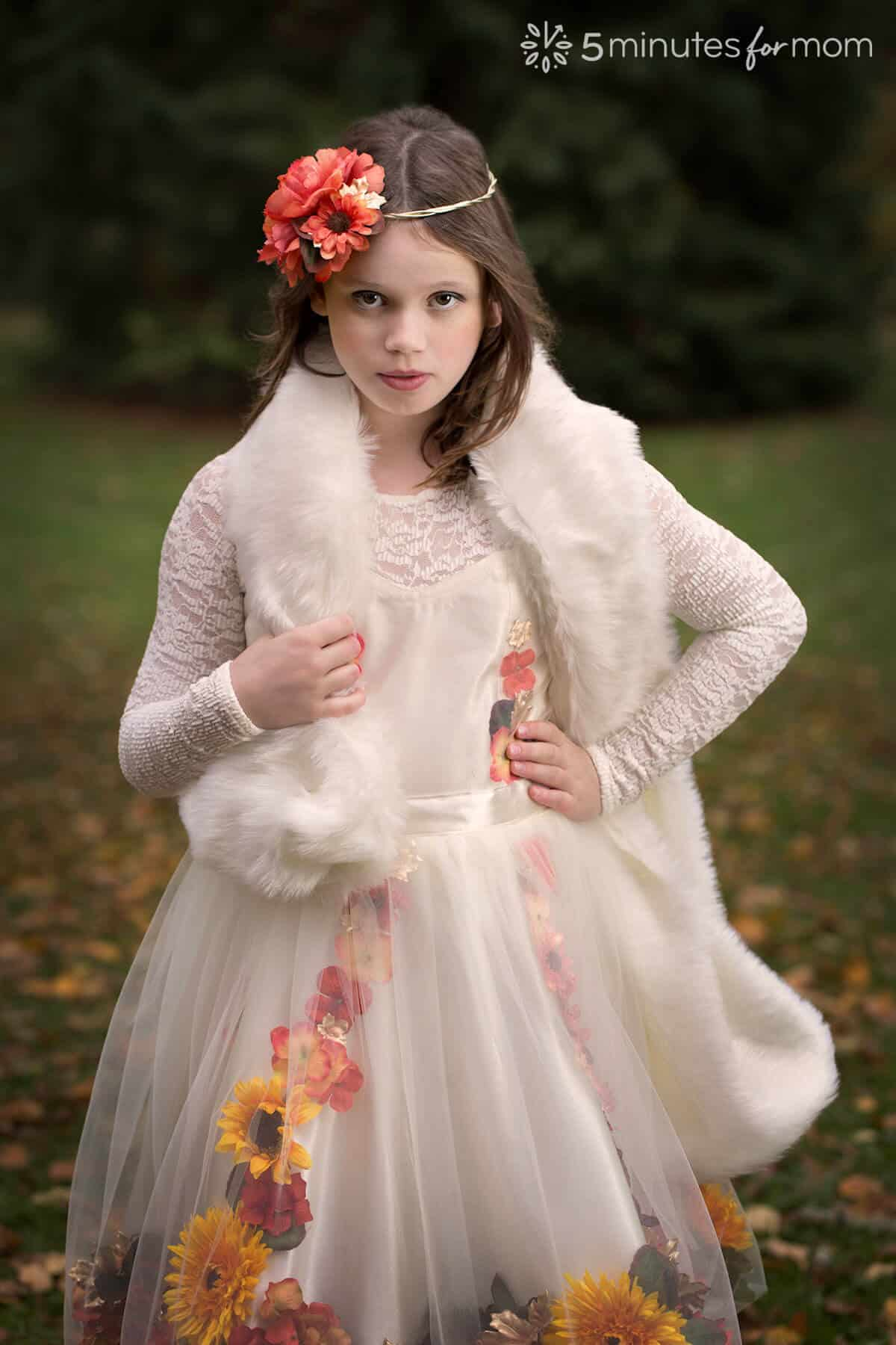 Fall Fairy with Faux Fur Wrap - how to sew a faux fur wrap